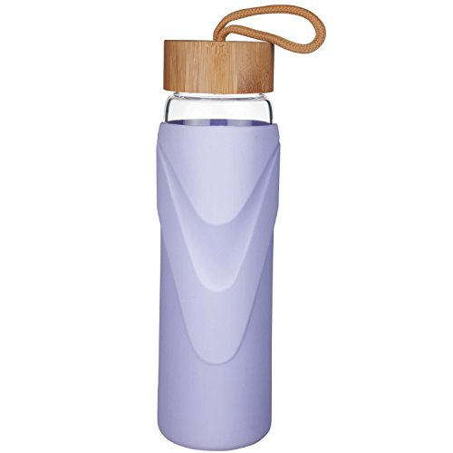 Just Water Best Widemouth BPA-Free Glass Water Bottle With Protective Silicone Sleeve and Bamboo Lid - Dishwasher Safe (Purple, 24 Oz)