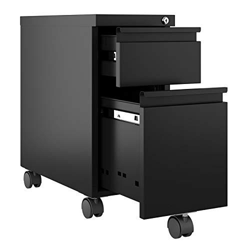Hirsh 10'' Wide 20'' Deep Narrow Mobile Zip Pedestal File Cabinet Box File in Black