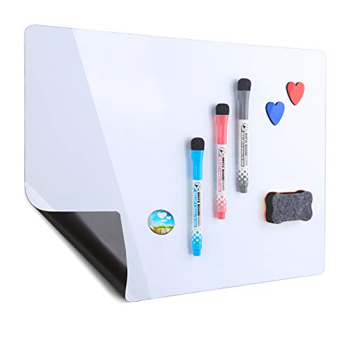 Magnetic Refrigerator Whiteboard 17''x12''| Stain Resistant Technology | Dry Erase Fridge Whiteboard | 3 Magnetic Makers, 1 Eraser, 1 Magnetic Button and 2 Hearts Included