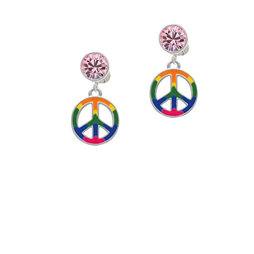 Silvertone Large Rainbow Colored Peace Sign - Pink Crystal Clip on (Pink Crystal Peace Sign)