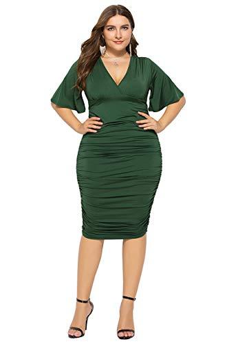 OMZIN Women Sexy V Neck Bodycon Dress Ruffle Sleeve Plus Size Evening Party Midi Dress Green L (Super Bowl Party Dress)