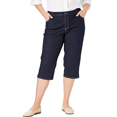 Woman Within Women's Plus Size Capri Stretch Jean - Indigo, 36 W