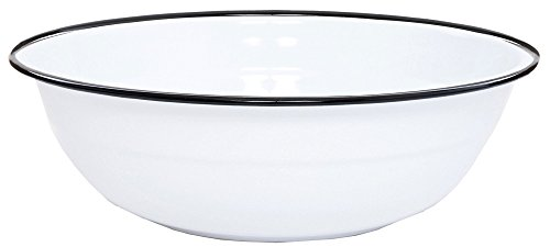 Enamelware Basin, 8 quart, Vintage White/Black (White Wash Antique)