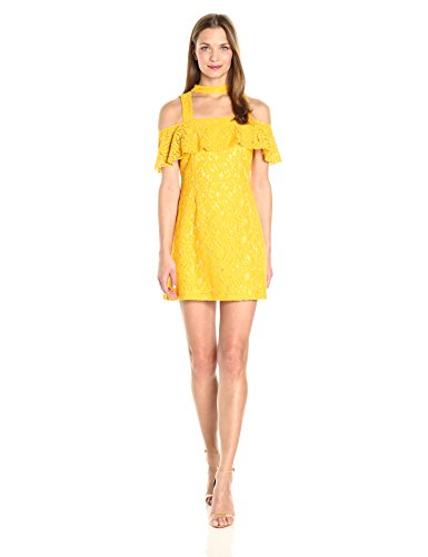 MINKPINK Women's Enchantress Frill Cold Shoulder Lace Dress, Yellow, Small