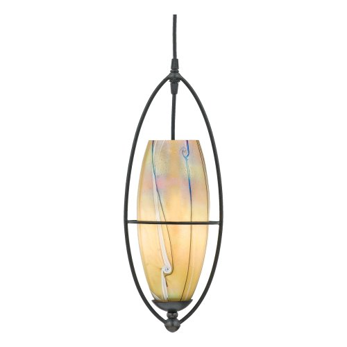 (Quoizel ASEW1507IB Asti W- Elongated Wave Glass 18-Inch Cord Hung Piccolo Pendant with Elongated Wave Art Glass, Imperial Bronze Finish)