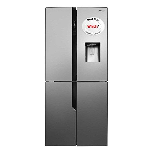 Hisense RQ560N4WC1 Four Door American Fridge Freezer With Non Plumbed Water Dispenser Stainless Steel Look
