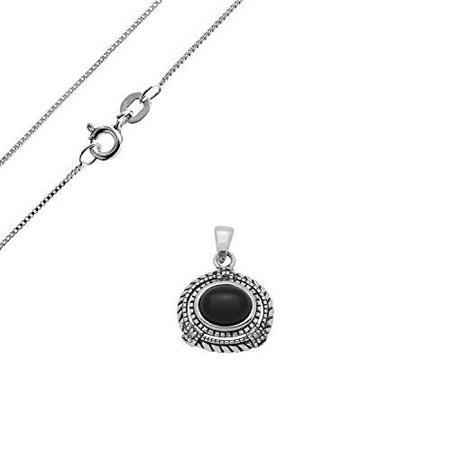925 Sterling Silver Oval shape Black Ony - Oxidized Black Onyx Necklace Shopping Results