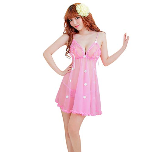 UIFIDI Womens Sexy Sleepwear Lace Pajamas Underwear Nightdres Suit Sexy Woman's Erotic Lingerie Pink