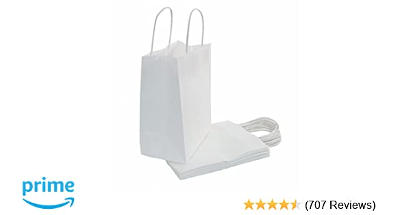 a54927dc75c8f Amazon.com: 25 Count - White Kraft Paper Bags with Handles - Perfect ...