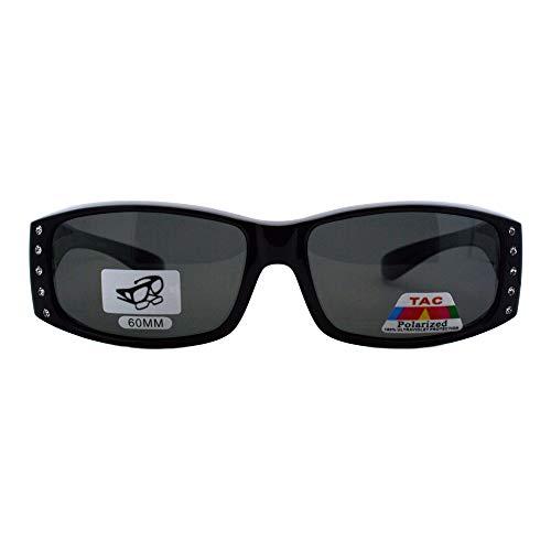 Womens Polarized Fit Over Glasses Sunglasses Rhinestone Rectangular Frame (black, 57) by JuicyOrange (Image #1)