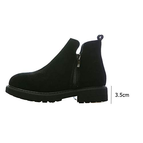 Épais Glissière En Rond De Voyage Black Daim Gommage Dames Bout Chaussures Fermeture Bottines À Martin Talon Pour Bottes Courtes wCAxt7Bq