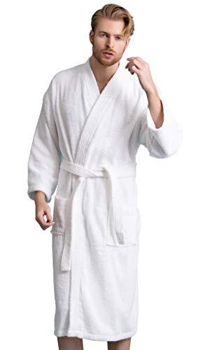 Men's Robe, Turkish Cotton Terry Kimono Spa Bathrobe (White, - Terry Robe Cotton Turkish