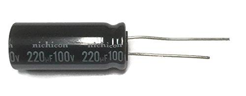 - Set of 5, Nichicon 105°C Electrolytic Capacitor 220uF 100V (220 mfd 100V) 20% Radial, 11/16