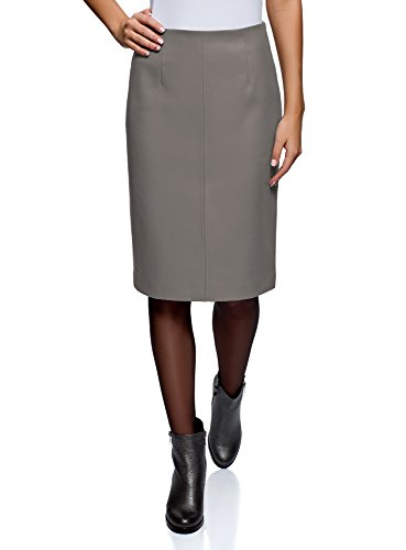 oodji Collection Women's Faux Leather Pencil Skirt, Grey, 6