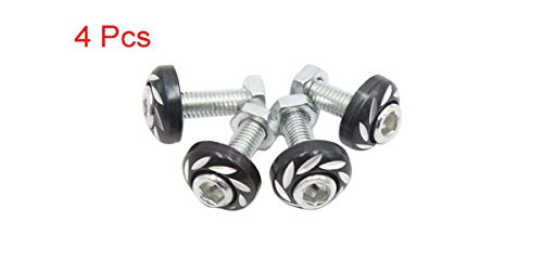 uxcell 4pcs Black 6mm Thread Diameter Motorcycle License Plate Frame Screws Bolts Caps a17030700ux0175