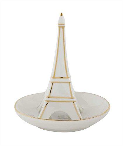 White Eiffel Tower Stoneware Ring Dish - Set Of 3