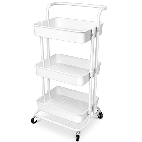 Homemaxs 3 Tier Rolling Utility Storage Cart with Handles and Roller Wheels Storage Cart for Kitchen, Coffee Bar, Microwave Cooking Station, Storage, Office, Bathroom (White) (White Metal Rolling Cart)
