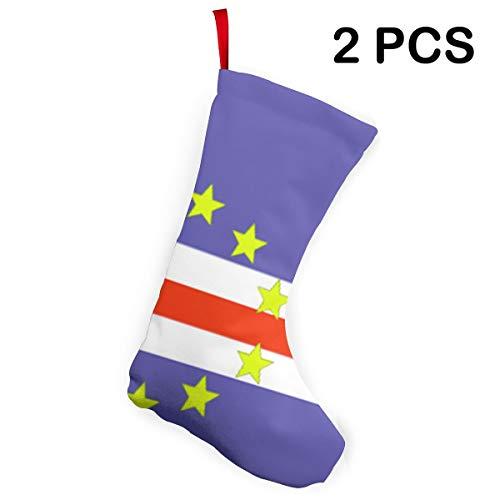G-Fulling Cape Verde National Flag Christmas Stocking Felt 2 Pcs Set 12