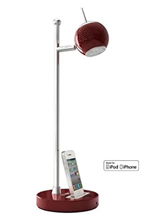 MFI Red LED Desk Lamp with Ipod/iphone Dock and Built-in Stereo Loudspeakers. MFI Certification Charging Your Mobile Phone, Iphone and Ipod. Dimmable LED Light 50,000+ Hours. Remote Control