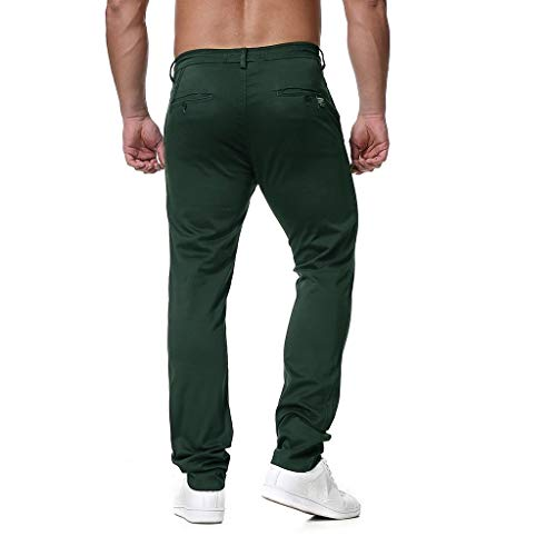 Men's Straight Fit Pants Slim Fit 2019 New Summer Casual Trousers Work Pants with Drawstring (XXXXL, Green)
