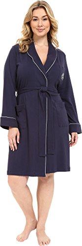 - Lauren Ralph Lauren Women's Plus Size Essentials Quilted Collar and Cuff Robe Navy X-Large