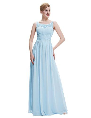 Belle sin Largo Mujer 5 Gala st61 Maxi de Vestido Vestido Fiesta de Azul para Ceremonia Mangas de Poque® Boda para vqrEAvWw