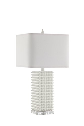 Catalina Lighting 20631-001 Manhattan White Table Lamp with White Rectangular Shade, Bulb - Table Rectangular Manhattan
