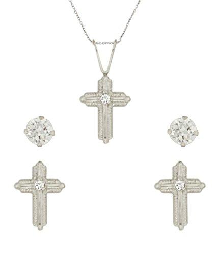 Sally Rose Girls Sterling Silver Cubic Zirconia Cross Pendant Cross Earrings Set
