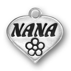 Sterling Silver 7 4.5mm Charm Bracelet With Attached Flat Nana Word Heart Charm With Flower