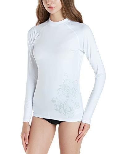 50 Adult S/s Tee - Tesla TM-FSR28-WHT_Large Women's UPF 50+ Loose-Fit Long Sleeve S-Print Swit Top Rashguard FSR28