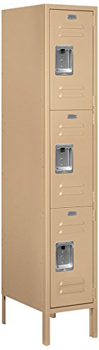 Salsbury Industries 63158TN-U Triple Tier 12-Inch Wide 5-Feet High 18-Inch Deep Unassembled Standard Metal Locker, Tan Brown by Salsbury Industries