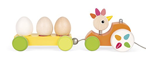 Janod Zigalos Pull Along Tractor Hen Baby Toy by Janod (Image #4)