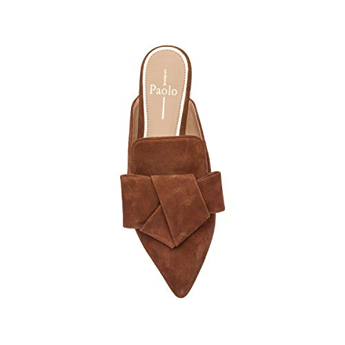 Pecan Pointy Slip Leather Bow Flat Toe Mule Suede ANYA Suede On Origami pgvAvqw