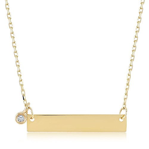14k Yellow Gold 0,01 ct Diamond Bar Pendant Necklace for Women, 18