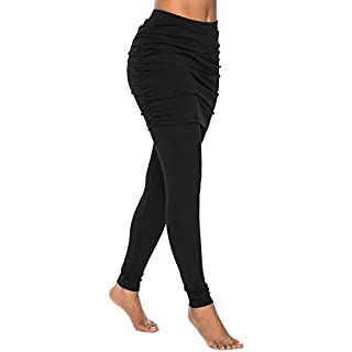 Women's Skirted Leggings Tights Yoga Active Pants Capri Leggings (Color : Black, Size : S)