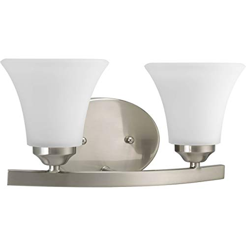 (Progress Lighting P2009-09 Adorn Collection 2-Light Vanity Fixture, Brushed Nickel)
