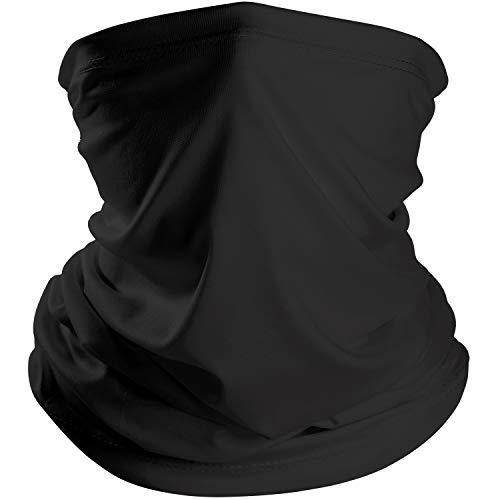 (Chuangdi Summer Bandana Face Mask Thin Neck Gaiter Sun Mask Headwear Lightweight Face Mask Elastic Face Scarf Mask for Summer Protection (1, Black))