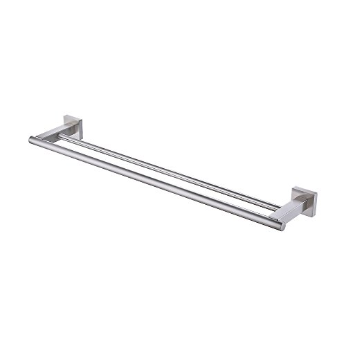 KES Towel Bar Towel Holder with Double Rod 23 Inch Brushed SUS 304 Stainless Steel Wall Mount Bathroom Shelf Rack Contemporary Style, A2201-2 by Kes