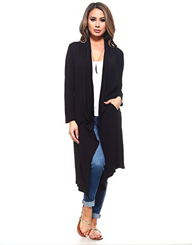 Isaac Liev Women's Open Front Drape Draped Front Lightweight Long Cardigan with Side Pockets (X-Small, Black)