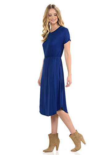 in Dress Solid Made Sleeve iconic Short Pockets Royal Flare Floral luxe USA in Women's Midi Blue wqxYtx8zP
