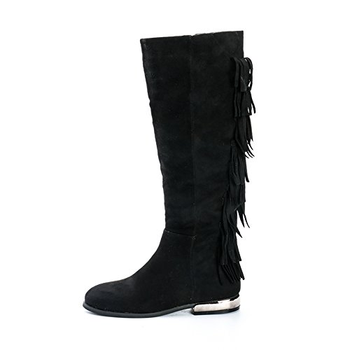 Alexis with Leroy Tassels Synthetic Riding Knee Women's Black High Suede Boot Z6frZCq