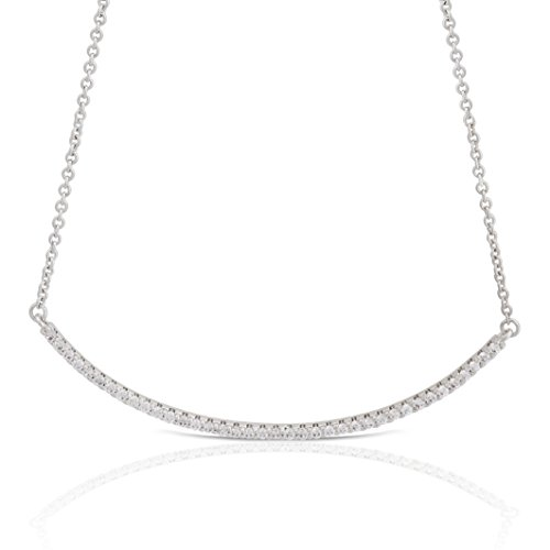 JanKuo Jewelry Rhodium Plated Micro Pave Cubic Zirconia Curved Tube Bar Necklace, 16