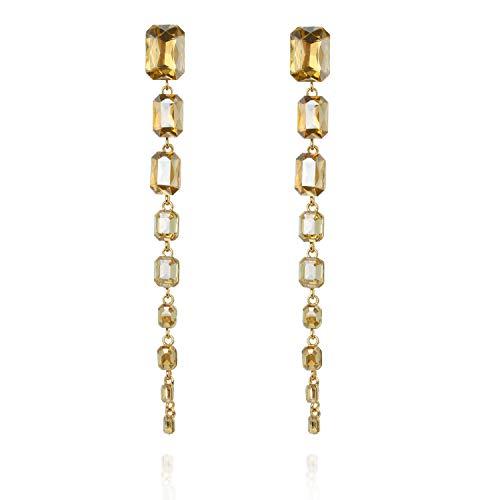 Long Emerald Droplets Dangle Post Gala Earrings in Gold ()