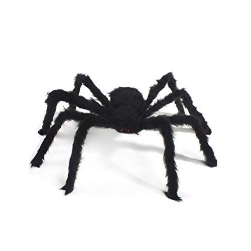 - Potelin Fake Spider Halloween Decorations Fake Hairy Plush Puppet Prank Jokes Toy Black Large Spider for Party Bar 50cm 19.7