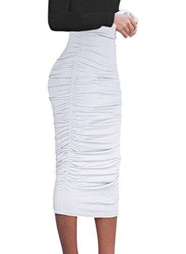 (VFSHOW Womens Elegant Off-White Ruched Ruffle High Waist Casual Pencil Midi Mid-Calf Skirt 2817 WHT)