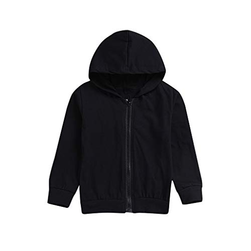 Baby Boys Girls Winter Tops Toddler Infant Long Sleeves Pocket Letter Print Hooded Pullover Clothes ` (age: 18-24 Months, Black)