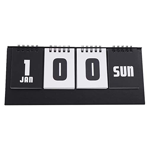 Exttlliy D Day Office Perpetual Desk Calendar Simple Multifunction Countdown Standing Calendar (Black) -