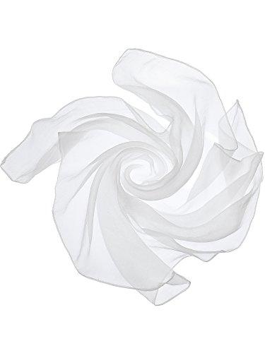 Satinior Chiffon Scarf Square Handkerchief Satin Ribbon Scarf for Women Girls Ladies, 23.6 by 23.6 Inch (Chiffon White)