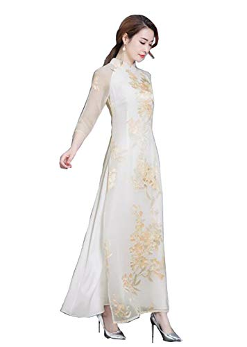 (Aries Tuttle Chinese Style Women's Birthday Party Collar Floral Long Cheongsam Dress Retro Gown Qipao)