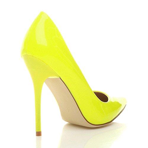 Jaune Néon chaussures travail haut Ajvani élégante Femmes taille pointue escarpins talon fête de UxwS6q